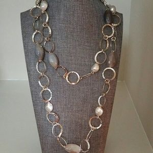Stainless steel hoop and pearl long necklace